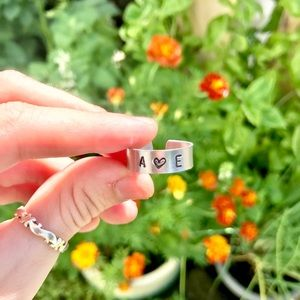 Custom hand stamped aluminum rings